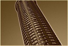 one of two (Nash Whaley) Tags: seattle abstract building sepia architecture skyscrapers towers hotels abstractarchitecture thewestinseattle topherlynch