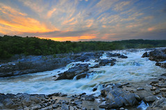 Great Falls Park Maryland Sunset (vtgohokies) Tags: park sunset color nature water colors landscape washingtondc photo waterfall nationalpark nikon day cloudy greatfalls maryland wave d200 blending d300 tokina1116mm