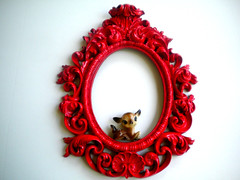 forbidden apple (amye123) Tags: red wall vintage deer swirl baroque decor homedecor scroll oval pictureframe cherryred upcycle applered amye123