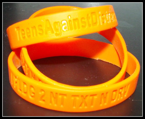 free Teens Against Distracted Driving pledge bracelets