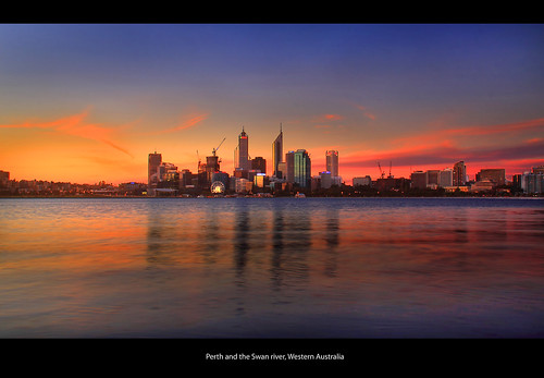 Perth and the Swan river, Western Australia,Panarama of Perth city skyline at dusk. by Ianmoran1970