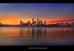 Perth and the Swan river, Western Australia,Panarama of Perth city skyline at dusk. (Ianmoran1970) Tags: city blue red reflection water skyline night canon dusk australia perth cbd 18200mm 50d ianmoran mygearandmepremium ianmoran1970