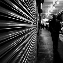no direction (bluechameleon) Tags: seattle street door city urban bw man lines blackwhite silhouettes pikestreet lightroom bluechameleon artlibre sharonwish
