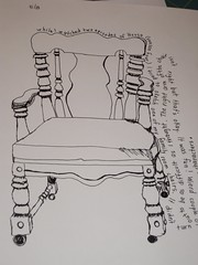 "family room chair drawn while watching ""House"""