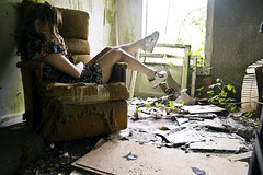 oregongirl (yyellowbird) Tags: house selfportrait abandoned girl oregon chair lolita cari