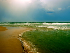 Ocean View (uninvented colors) Tags: ocean blue sea sky sun green gulfofmexico water clouds sand waves turquoise teal alabama peaceful shore foam etsy emerald orangebeach whitecaps montagyoo