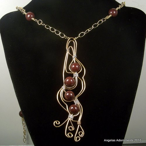 One Of A Kind Large Gold and Jasper Beaded Art Jewelry Necklace