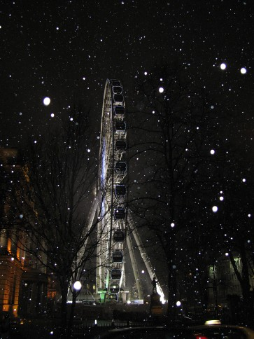 Belfast Wheel in the Snow at Night