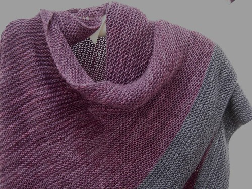 Purple and Pewter shawl neck