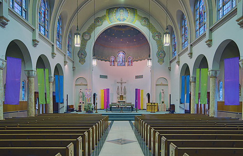 Immaculate Conception Roman Catholic Church, in Maplewood, Missouri, USA - nave