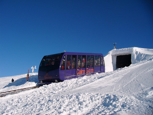 Cairngorm's funicular taking skiers up the mountain