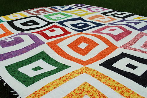 bright squares quilt close up