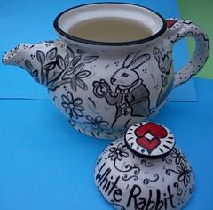 Teapot for Lili (mememarlin) Tags: blackandwhite rabbit teapot brandnew madewithlove specialpresent memekiwii funkyfolkartpottery