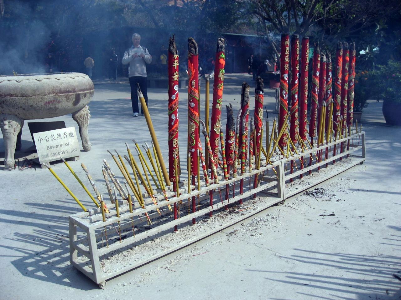 Giant burning incense sticks outside a Buddhist temple in Hong Kong.