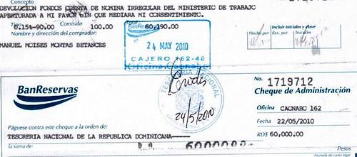 Cheque Manuel Moisés Montas