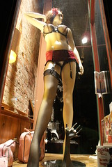 private show (Digital Heather) Tags: old arizona southwest west flower mannequin window night hair town store long desert south ghost bra front mining copper jerome pantyhose