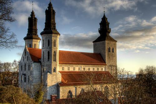 Visby cathedral side facade. Fachada lateral de la catedral de Visby