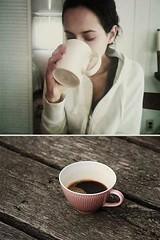 black coffee mornings. (buttermilk*blue) Tags: wood coffee girl breakfast drinking mug eliza blackcoffee breakfasttime