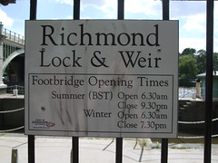 Richmond Lock closing times are suddenly important to me...
