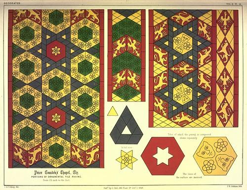 017-Ejemplos de baldosas capilla Craudens en Ely-Gothic ornaments.. 1848-50-)- Kellaway Colling