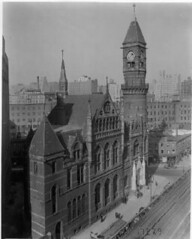 Jefferson Market Court House, Greenwich Village, circa 1934; it is now a branch of the New York Public Library. (La Guardia and Wagner Archives) Tags: library laguardia greenwichvillage fiorellolaguardia jeffersonmarket fiorello thelittleflower mayorlaguardia
