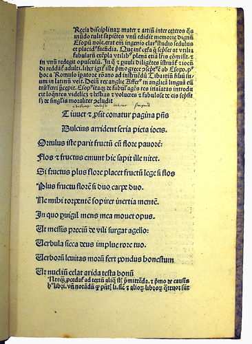 First Page of Text from 'Aesopus Moralisatus'