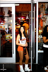 Hooters (razorcutgarlic) Tags: california door girls sexy girl standing restaurant stand losangeles wings tank top hooters doorway hollywood short shorts waitress blvd