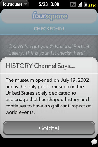 History Channel factoid about the International Spy Museum