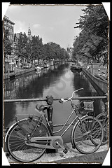 Amsterdam (Leire Montero) Tags: city bw tower blanco water bike landscape arbol canal calle agua barco torre arboles capital negro ciudad paisaje bn bici urbana holanda belleza pintoresco bicleta