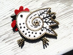 Here...chick..chick...chicken!!! (woolly  fabulous) Tags: red white chicken wool pin recycled brooch felt zipper embroidered