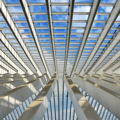 Calatrava (7) (Anne*) Tags: blue sky white architecture clouds train shadows belgium belgique gare bleu explore railwaystation ciel simplicity calatrava abstraction nuages frontpage blanc 2010 ombres lige wallonie rhythms graphism guillemins simplicit rythmes ministract annedhuart