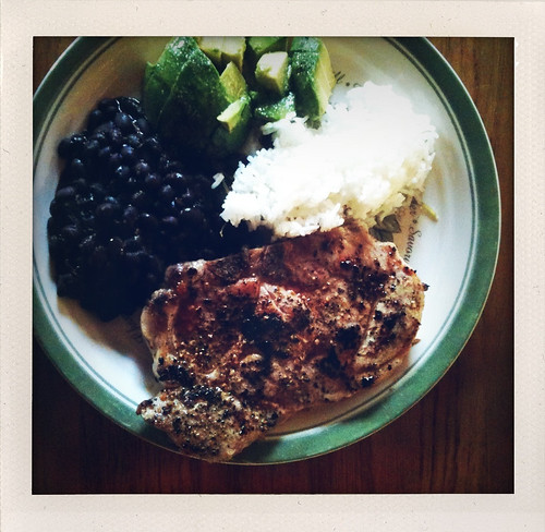 Pork chop, black beans and rice