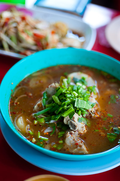 Tom saep, a spicy pork-bone soup at Jay So, a northeastern Thai restaurant in Bangkok