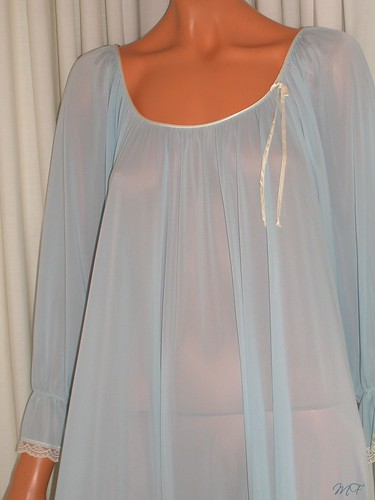 miss elaine sheer blue antron nylon nightgown close up front 2 a