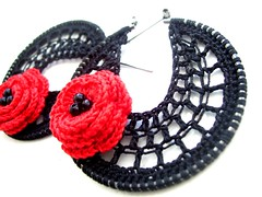 Red Bohemian Hoops with flower (Bohemian Hooks) Tags: flower handmade lace crochet jewelry earrings knitted hoops bohemian