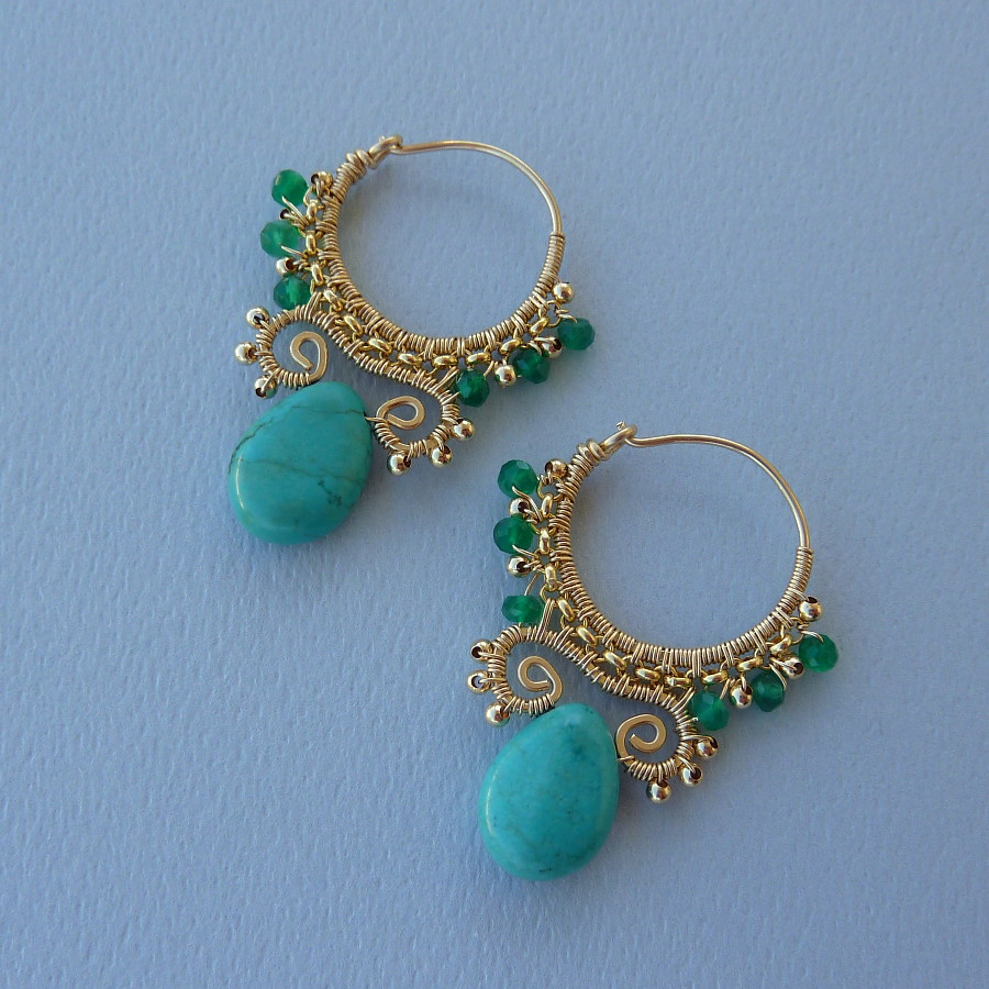 Gold Turquoise and Green Onyx Tribal Hoops