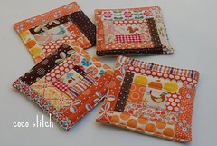 orange fabric coaster (coco stitch) Tags: orange bird quilt logcabin fabric patchwork coaster