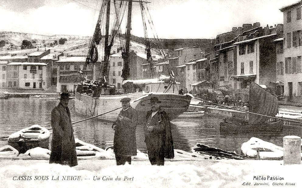 port de Cassis sous la neige en janvier 1914