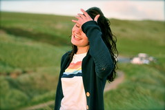 freshwater west | howies (hollie*d4) Tags: summer portrait smile face hair happy 50mm spring model nikon dof wind hills relief laugh lydia catalogue pembrokeshire sweep freshwater howies