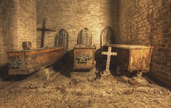 'Three' (Timster1973 - thanks for the 13 million views!) Tags: west norwood cemetary catas catacombs death deceased dead laid rest canon color colour tim knifton timster1973 eerie creepy abandoned spaces haunt london uk united kingdom city interior underground coffins three low