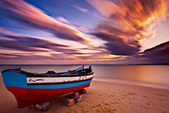 Fishing Boat at Sunset (Barry O Carroll Photography) Tags: fishingboat boat beach sea water sunset evening hammamet tunisia tunisie northafrica afriquedunord maghreb longexposure slowshutterspeed 10stopfilter nd30 ndfilter clouds motionblur seascape landscape travel wideangle