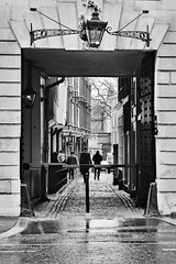 Called To The Bar (Douguerreotype) Tags: uk gb britain british england london city urban bw blackandwhite mono monochrome people street alley buildings lamp lantern law legal barristers chambers