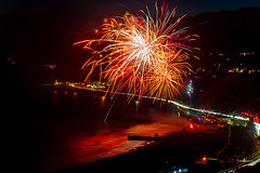 41 (morgan@morgangenser.com) Tags: pacificpalisaddes beach belairbayclub blue celebrate fireworks color iso100 july3rd loud nikon night ocean orange pch people red reflection special spectacular streaks timeexposire tripod yellow amazing