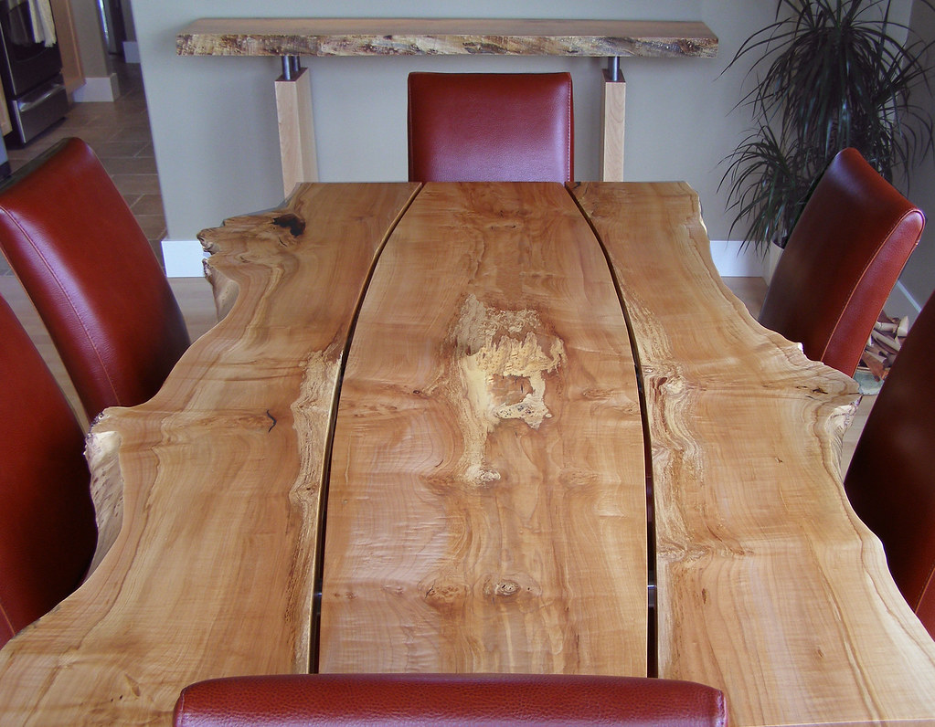 Live edge gapped character slab dining table