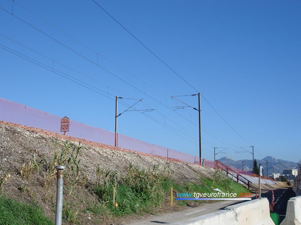 Vue de la ligne ferroviaire pendant les travaux d'extension de capacité de la voie ferrée