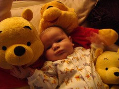 Owen with his Winnie The Pooh toys