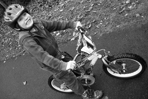 Finn, biking at cottage lake without training wheels