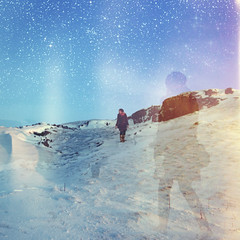 Constellations (mister sullivan) Tags: uk winter portrait snow mountains cold wales walking stars weird exposure magic front double explore page brecon beacons anonymous buttonmooon