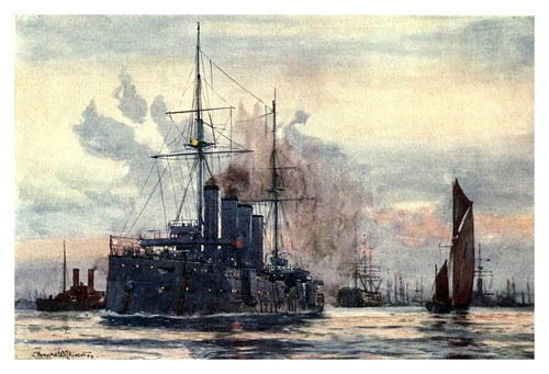024- HMS Good Hope saliendo del puerto de Portsmouth-The Royal Navy (1907)- Norman L. Wilkinson