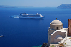 MSC Musica cruise ship at Santorini - Greece (Giuseppe Finocchiaro) Tags: travel cruise blue sea mediterranean mediterraneo mare blu santorini greece grecia musica oia msc